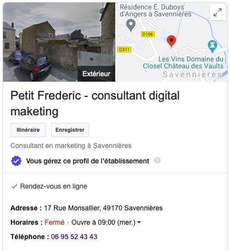 Fiche google my business Frederic Petit