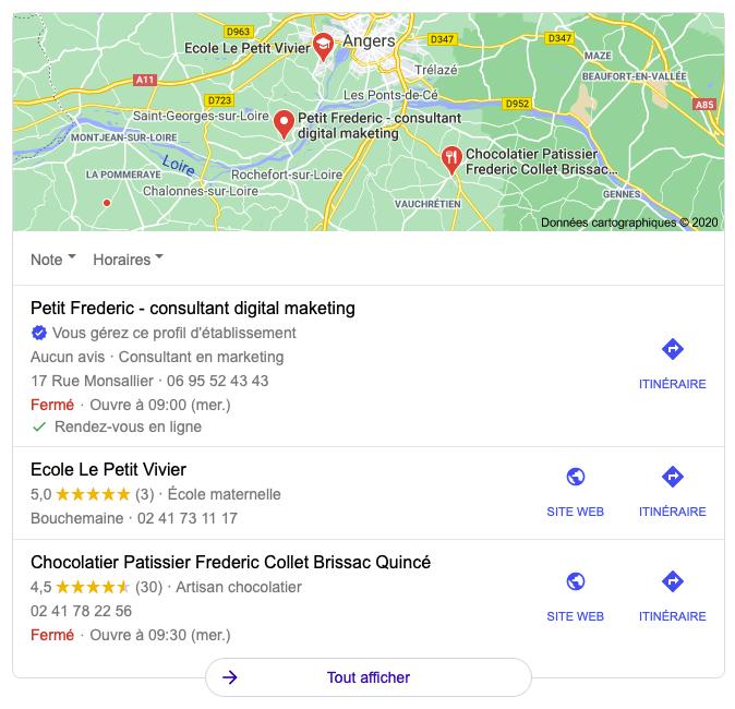 Google my business et interaction avec google map