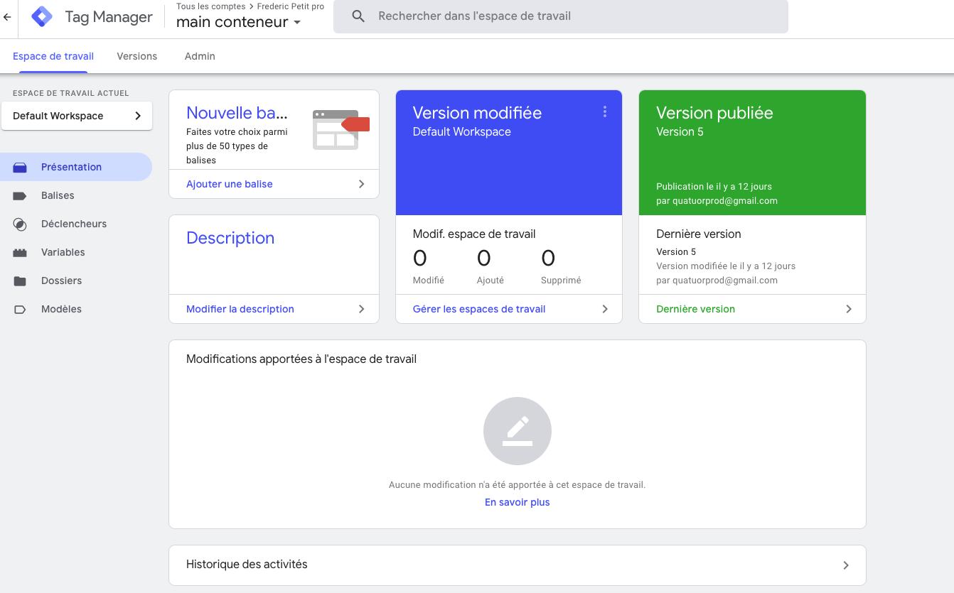 Écran d'accueil Google Tag Manager