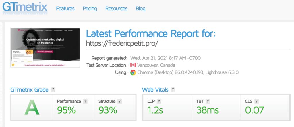 Analyse de la vitesse d'un site web avec Gtmetrix