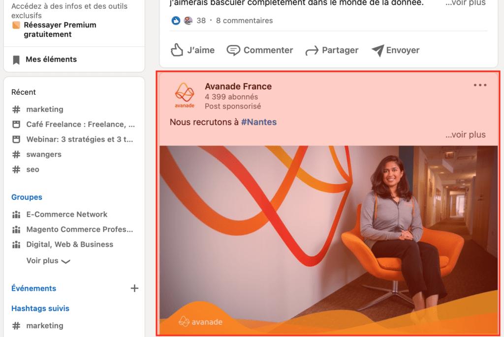 Publicité native sur Linkedin